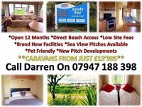 no site fess until 2018 with this 3 bed caravan for sale at sandy bay on northumberland coast