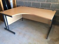 Beech Effect Laminate Corner Desk. Commercial Office Grade.