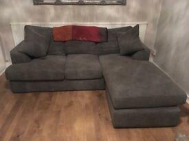 Grey Next 'L' shaped corner sofa & snuggler arm chair