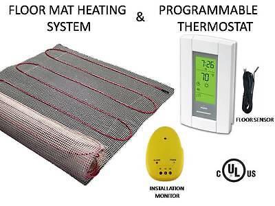 40 SQFT MAT 240V, Electric Floor Heat Tile Radiant Warm Heated w/ Digital Thermo