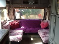 Hobby touring caravan.