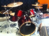 Used Pearl drum kit, with Zildjian symbols and accessories available for immediate collection