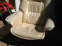 Leatherette reclining chair. Worn but comfy.