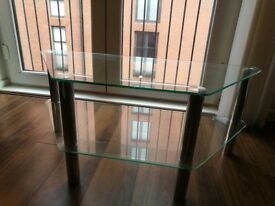 Glass TV stand and Oval Glass Coffee Table