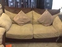 Cream + brown 2+3 seater couch set very good condition