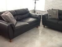 ***3 seater & 2 Seater black leather sofa***