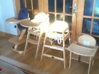Solid wooden Highchairs -several available-used and in excellent condition-from £15 to £65