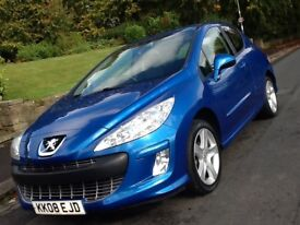 2008 PEUGEOT 308 1.6 VTI SPORT 3 DOOR WITH LOW MILEAGE AND 12 MONTHS WARRANTY