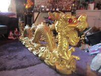 Two 6ft 8 golden Chinese Dragon Statues £100 grab a bargain
