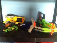 4 types of nerf guns and a target