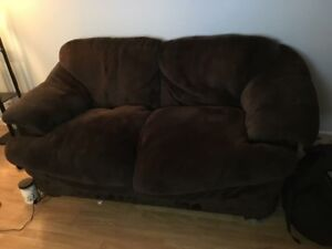 Brown love seat