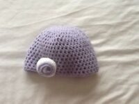 Hand crochet baby girl hats and booties