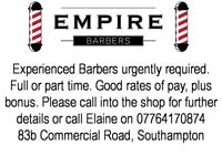 BARBER REQUIRED - CITY CENTRE - SOUTHAMPTON