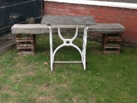 Wrought Iron Wooden Top Table.