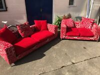 STUNNING LARGE TWO SEATER SOFA WITH MATCHING SMALLER TWO SEATER SOFA.