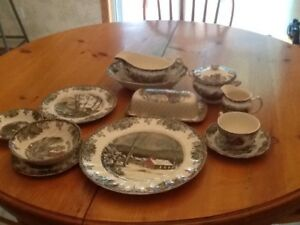 Friendly Village Johnson Bros. dinnerware set for six