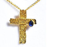 14K Solid Yellow Gold and Blue Sapphire Gemstone