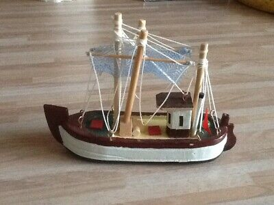 Sailing Boat - Wooden Model - Nautical Yacht Fisherman Coastal Decor Gift for sale  Shipping to South Africa