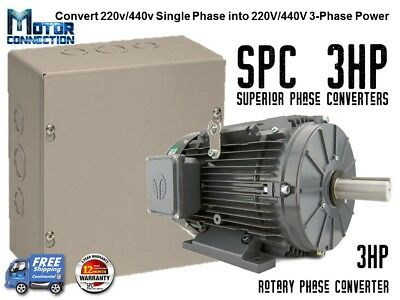 Rotary Phase Converter - 3 Hp - Create 3 Phase Power From Single Phase Supply