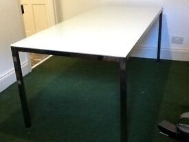 Large IKEA Glass Top Table with chrome legs and underframe.