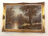 Canvass Oil painting with Coloured Gold Frame