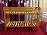brand new Lincoln Wood Kids Bunk Bed - Antique Pine - 2ft6 Small Single