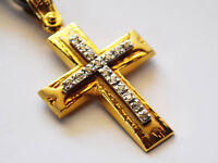 14K Solid Gold Cross Necklace Pendant for Woman with Zircon Stones