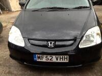 Black 52 Plate Honda Civic