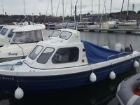2002 orkney 590 gt 50 honds hp outboard and brandnew 5hp aux engine