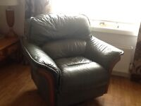 Green leather recliner chair for sale
