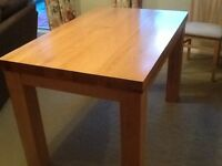 Solid oak dining table 75cm x 120cm