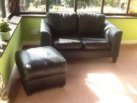 Black Leather 2 Seater Sofa & Footstool
