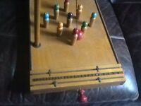 Old wooden skittles game