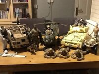 Collection of children's toy army vehicles and figures