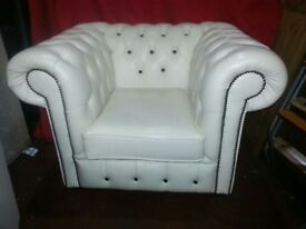 FAB WHITE *REAL LEATHER *CHESTERFIELD CHAIR