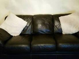 Dark brown 2&3 leather sofa