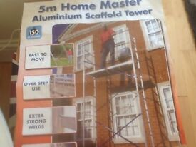 5metre high aluminium scaffold tower suitable for DIY, easy to erect, as new.