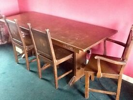 Solid Oak Carved Antique Table with 4 Matching Chairs