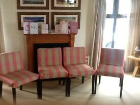 4 Dining chairs in trendy checked cloth