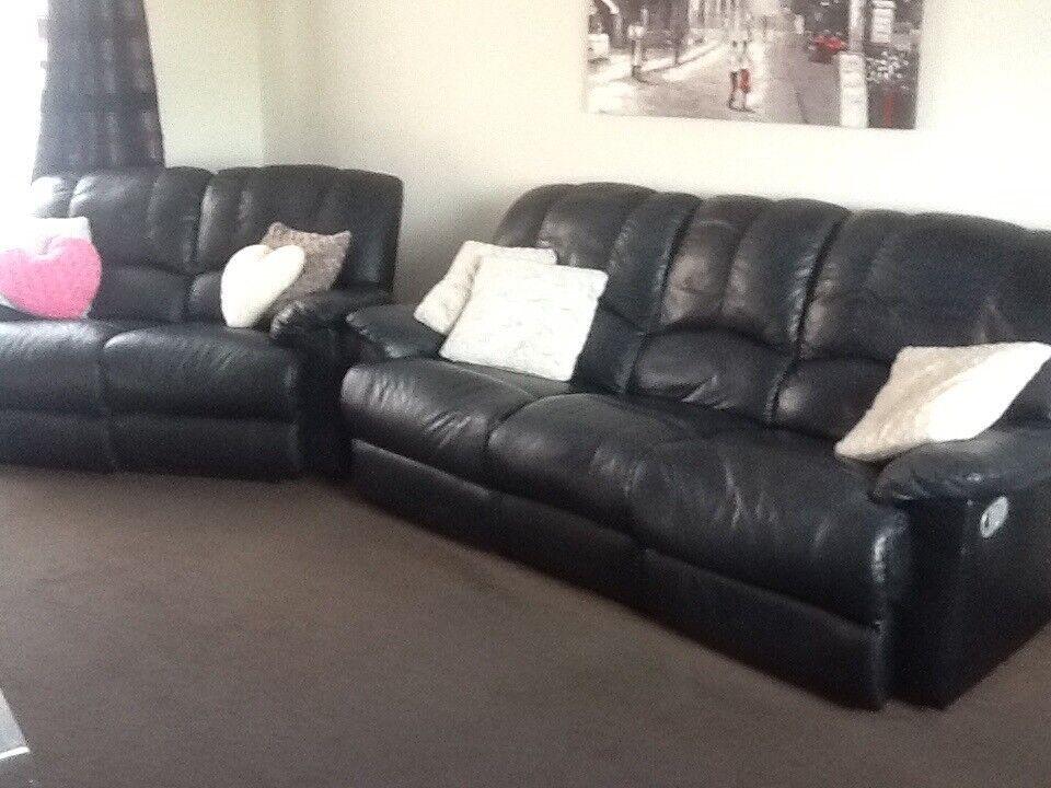 3 2 Seater Black Leather Sofas