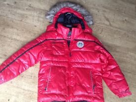BOYS RED ICEPAK WINTER SKI JACKET AGE 11-12 YEARS WITH REMOVABLE HOOD & FUR - GOOD CONDITION