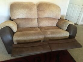 2x sofas set good condition brown & beige fleck