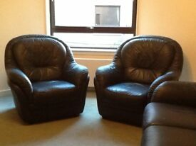 FREE - Blue Leather 2 seater sofa and 2 x Blue Leather armchairs , Good Condition.