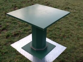 Custom made green wooden table, octagonal column, conservatory, home, retail shop display