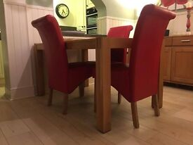 Fabulous PU leather , red scroll back dining chairs