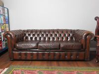 Sunning Brown Vintage 1970's Chesterfield Sofa