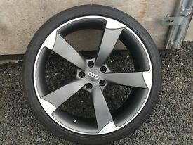 TT RS 20 INCH ALLOY WHEELS, AS BRAND NEW WITH ALMOST NEW TYRES.