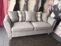 New Ashbourne Fabric 3 Seater Sofa in Grey With Scatter Back Cushions