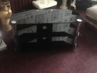 Tv black glass unit