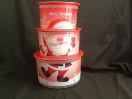 Tupperware Christmas canister set of 3 , Santa design brand new
